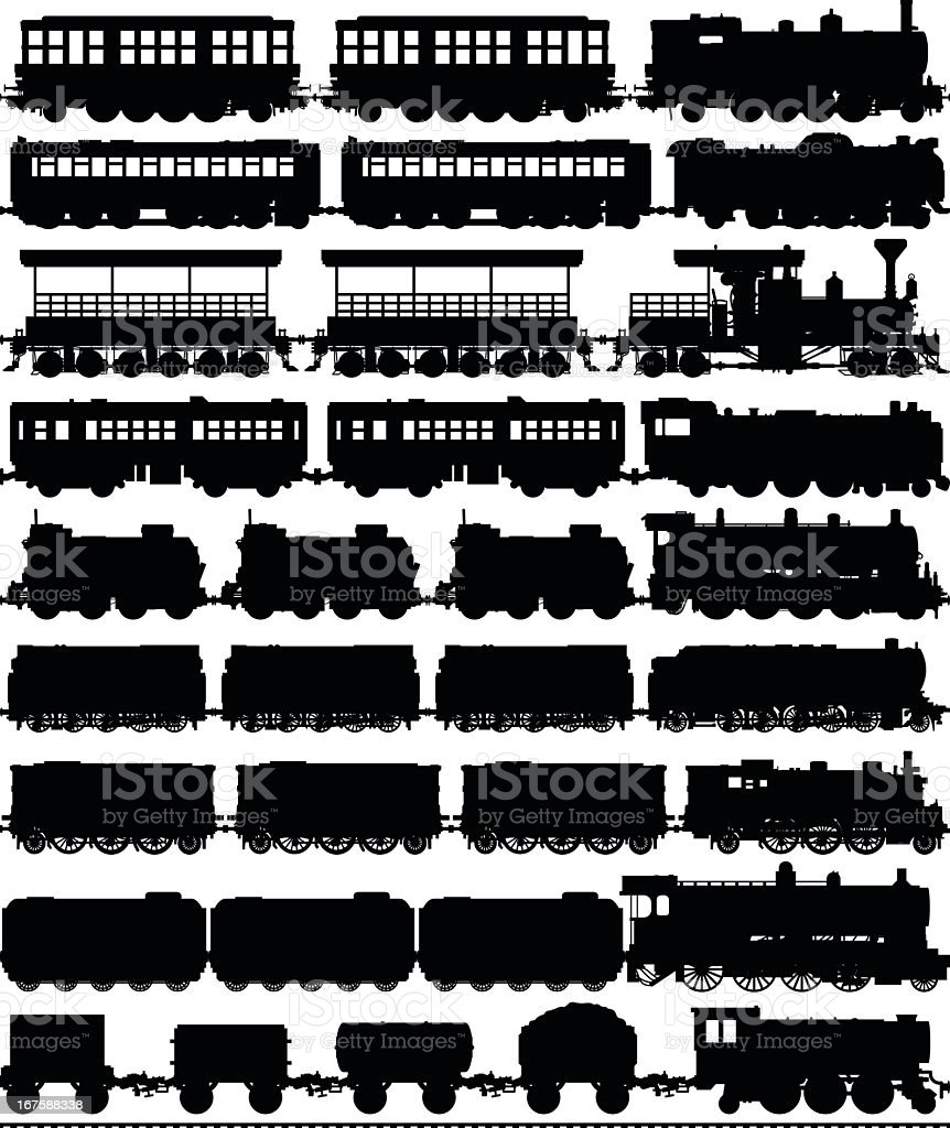 Trains (Carriages Can Easily Be Separated or Duplicated) royalty-free stock vector art