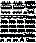 Selection of old trains. Each carriage can easily be separated or duplicated. The tracks are at the bottom.