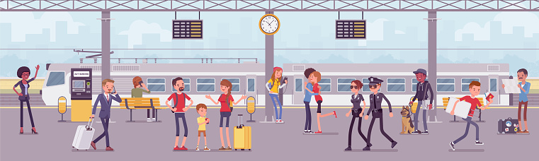 Trainstation railway line with trains and passengers