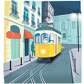 Traditional old tram number 28, a postcard from Lisbon, Portugal