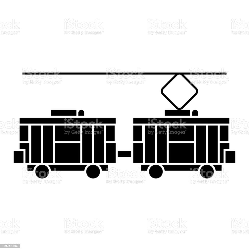 Tram Zwart Pictogram Concept Tram Vector Teken Symbool