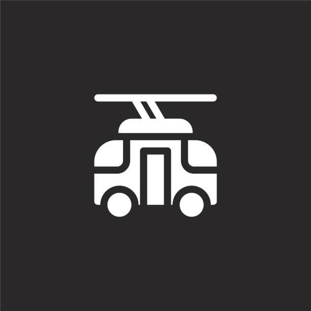 illustrazioni stock, clip art, cartoni animati e icone di tendenza di icona del tram. icona del tram riempita per la progettazione di siti web e lo sviluppo di app mobili. icona del tram dalla collezione piena di vita della città isolata su sfondo nero. - linea tranviaria
