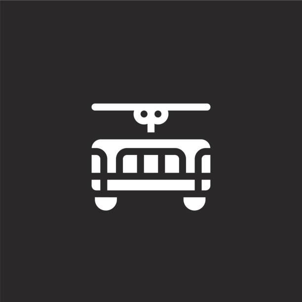 illustrazioni stock, clip art, cartoni animati e icone di tendenza di icona del tram. icona del tram riempita per la progettazione di siti web e lo sviluppo di app mobili. icona del tram dalla collezione riempito portogallo isolato su sfondo nero. - linea tranviaria