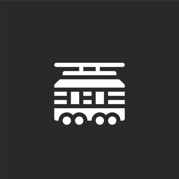illustrazioni stock, clip art, cartoni animati e icone di tendenza di icona del tram. icona del tram riempita per la progettazione di siti web e lo sviluppo di app mobili. icona del tram della collezione di trasporto riempita isolata su sfondo nero. - linea tranviaria
