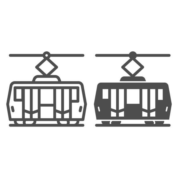 illustrazioni stock, clip art, cartoni animati e icone di tendenza di linea tranviaria e icona solida, concetto di trasporto pubblico, segnale di trasporto ferroviario cittadino su sfondo bianco, icona tram in stile contorno per concetto mobile e web design. grafica vettoriale. - linea tranviaria