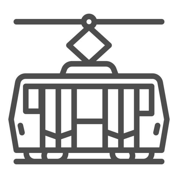 illustrazioni stock, clip art, cartoni animati e icone di tendenza di icona della linea tranviaria, concetto di trasporto pubblico, segnale di trasporto ferroviario cittadino su sfondo bianco, icona del tram in stile contorno per il concetto mobile e il web design. grafica vettoriale. - linea tranviaria