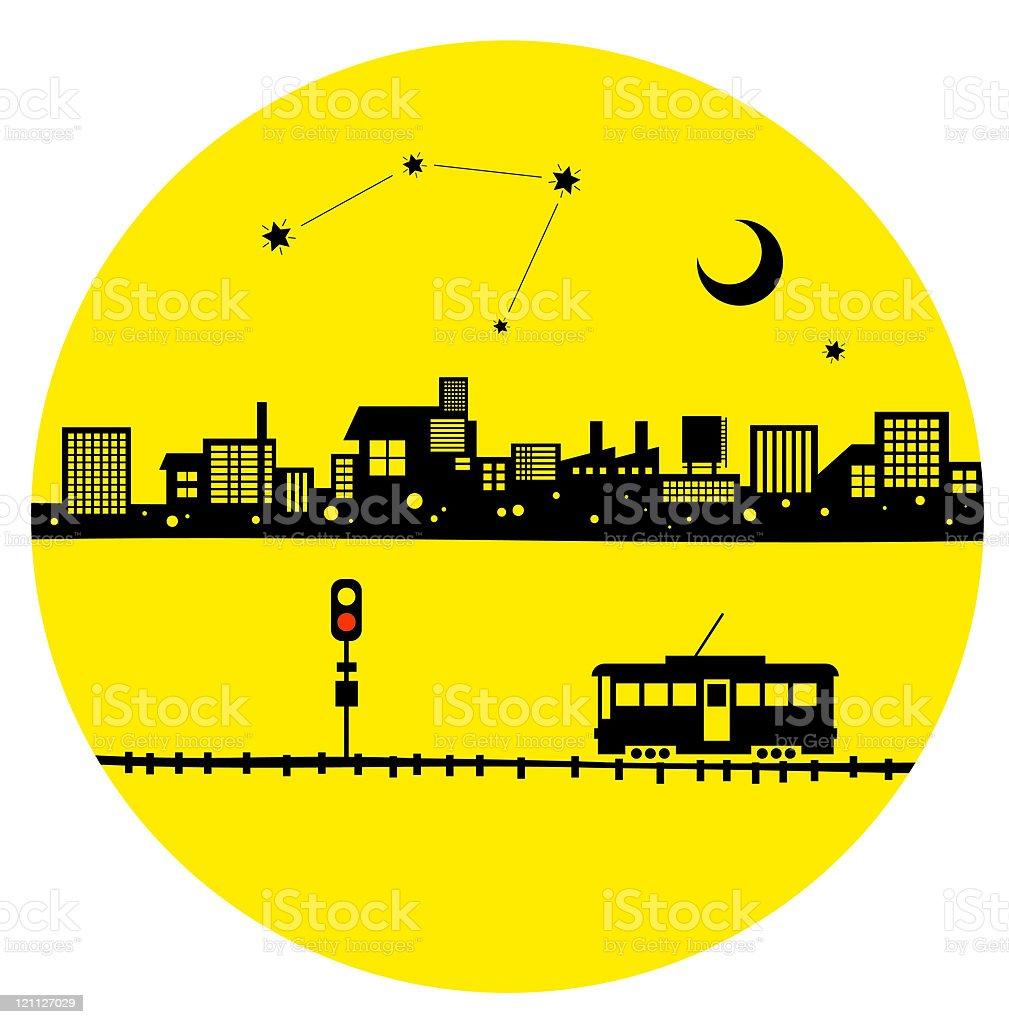 Tram of moonlight night vector art illustration