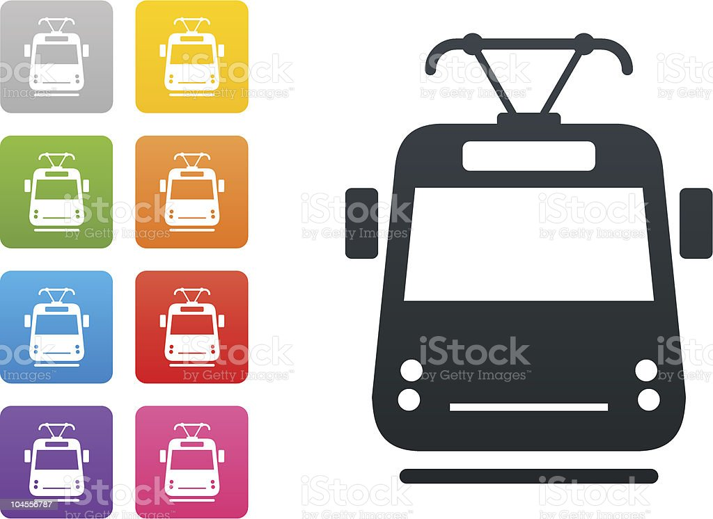 tram on coloured button - design elements vector art illustration