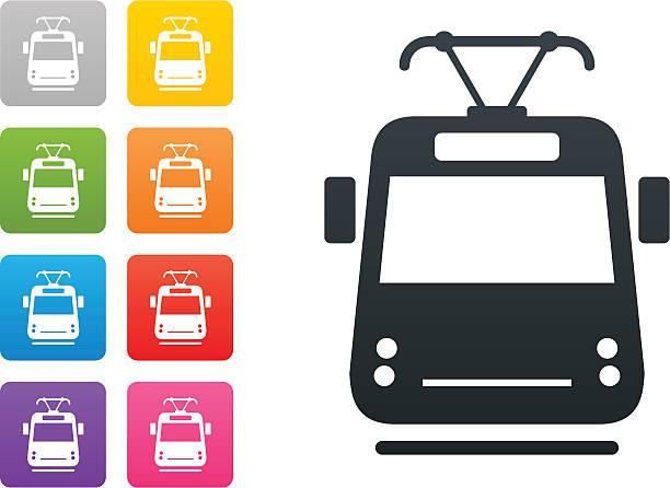 illustrazioni stock, clip art, cartoni animati e icone di tendenza di tram sul pulsante-elementi di design colorato - linea tranviaria