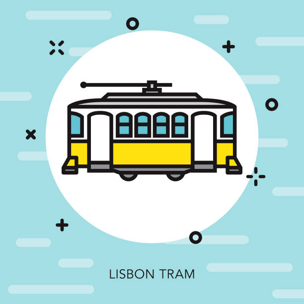 tram portugal thin line icon - lizbona stock illustrations