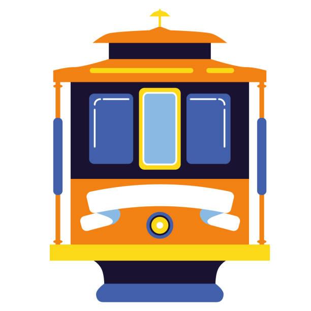 ilustrações de stock, clip art, desenhos animados e ícones de tram simple illustration on white background - eletrico lisboa