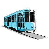 Vector illustration of a city tram sketch