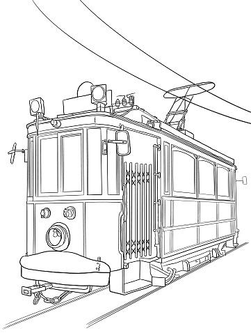 Tram Sketch Vector