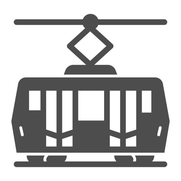 illustrazioni stock, clip art, cartoni animati e icone di tendenza di icona solida del tram, concetto di trasporto pubblico, segnale di trasporto ferroviario cittadino su sfondo bianco, icona del tram in stile glifo per il concetto mobile e web design. grafica vettoriale. - linea tranviaria