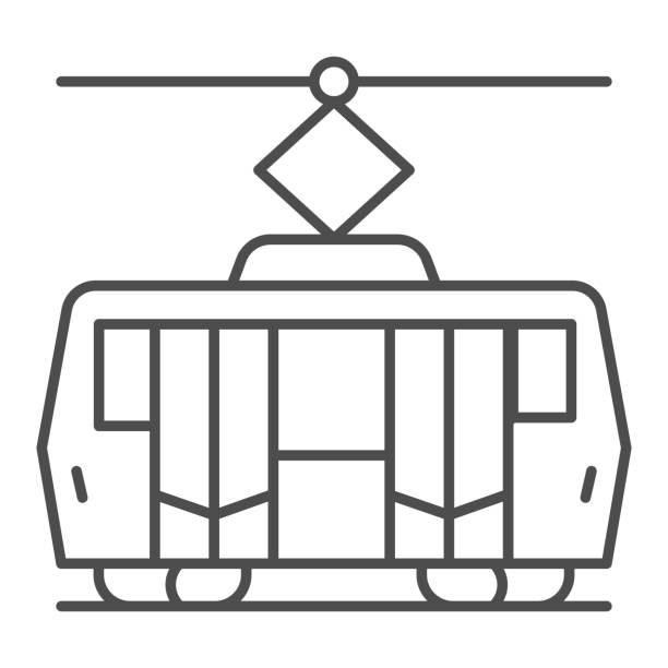 illustrazioni stock, clip art, cartoni animati e icone di tendenza di icona della linea sottile del tram, concetto di trasporto pubblico, segnale di trasporto ferroviario cittadino su sfondo bianco, icona del tram in stile contorno per il concetto mobile e il web design. grafica vettoriale. - linea tranviaria
