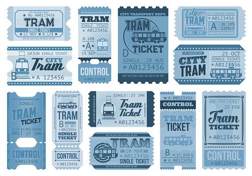 Tram tickets retro, city public rail transport