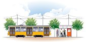 vector illustration of people waiting tram at tram stop.