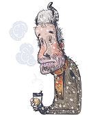 Tramp drinking coffee. Comic personage. Vector illustration