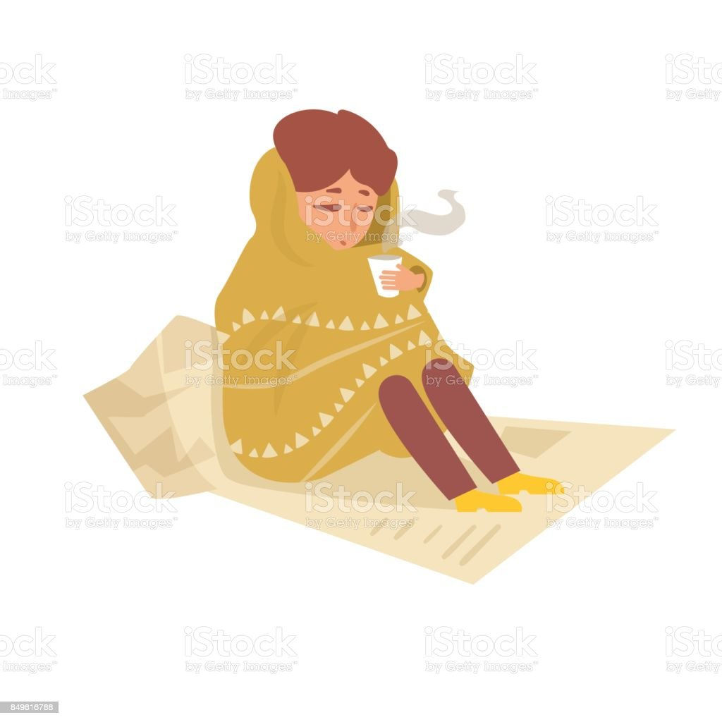 Tramp sitting on the newspapers vector art illustration