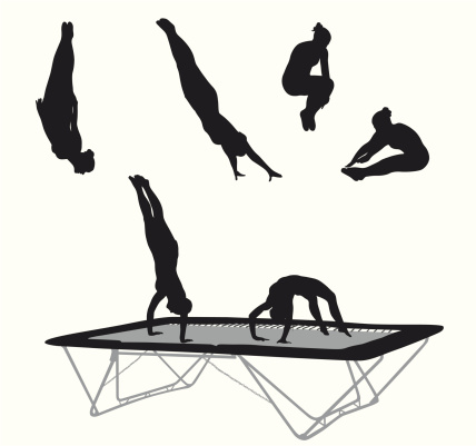 Trampoline Action Vector Silhouette