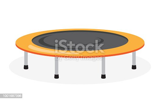 Jumping trampoline icon. Equipment for indoor or outdoor fitness, on white background, vector illustration