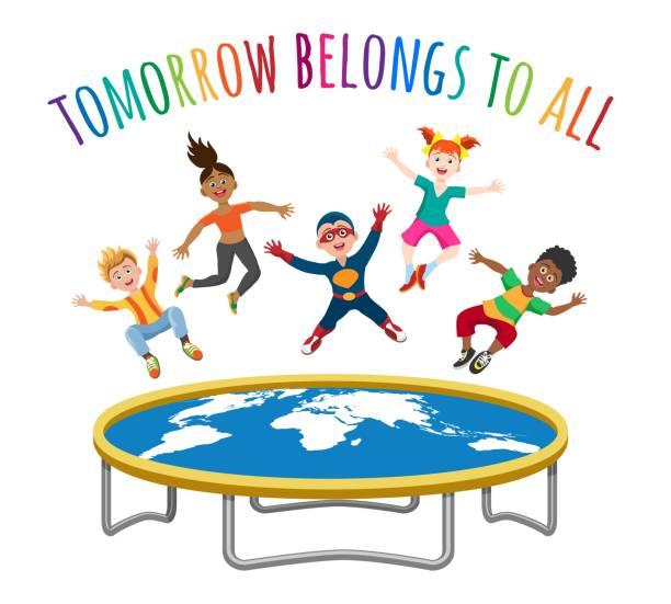 trampolin springen kinder - hoftheater stock-grafiken, -clipart, -cartoons und -symbole