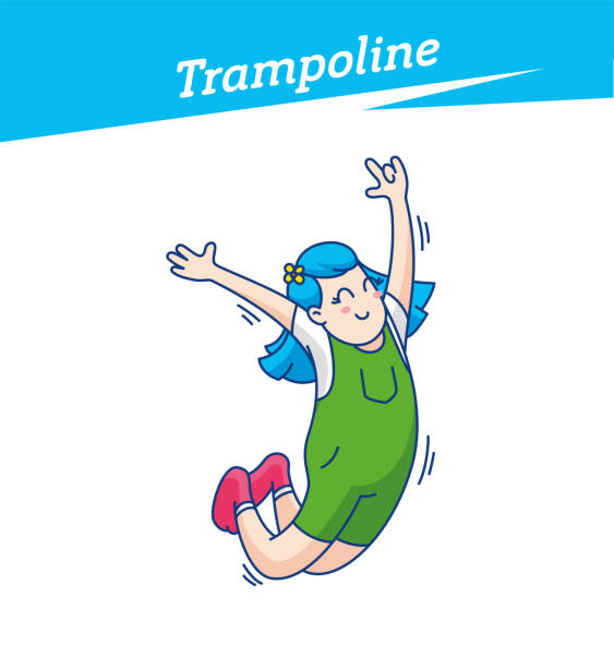 Trampoline park, jumping, trampoline trick. Kid playing on trampoline in a fun park Happy young girl jumping, wearing socks. Vector illustration vector art illustration