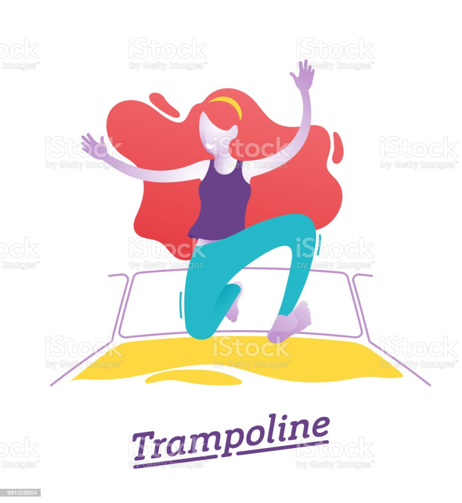 Trampoline park, jumping, trampoline trick. Kid playing on trampoline in a fun park Happy young girl jumping, wearing blue short. Vector illustration vector art illustration