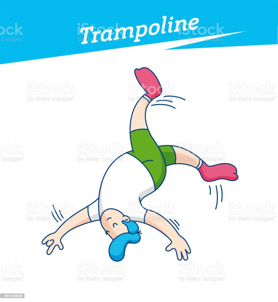 Trampoline park, jumping, trampoline trick. Kid playing on trampoline in a fun park Happy young boy jumping, wearing socks. Vector illustration vector art illustration
