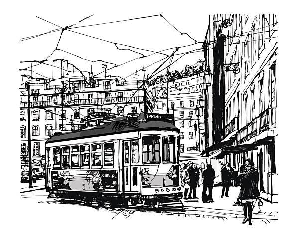 ilustrações de stock, clip art, desenhos animados e ícones de veículos em lisboa - eletrico lisboa
