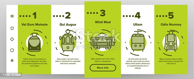 Tramway, Urban Transport Onboarding Mobile App Page Screen. Tramway, Eco-Friendly Vehicle Linear Illustrations. Funicular, Cable Wagon, Subway Passenger Transportation.