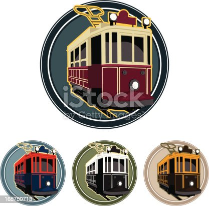 an editable vector classic tramway with color alternatives.