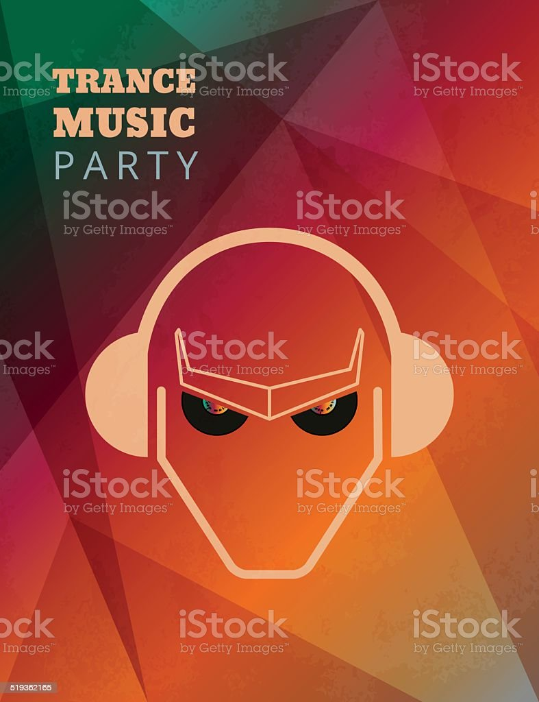 Trance music party poster vector art illustration
