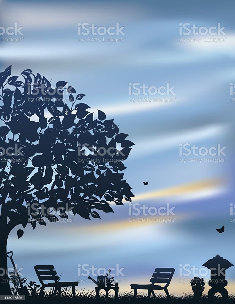 Tranquil Garden Scene at Dusk royalty-free stock vector art