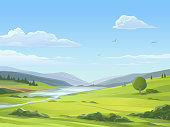 Vector illustration of a beautiful rural landsapce with a river, a lake, bushes, hills, mountains, and green meadows under a blue cloudy sky. Illustration with space for text.