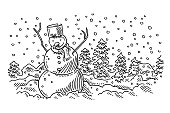 Tranquil Snowman Winter Landscape Drawing