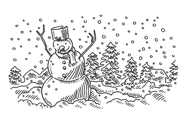 ruhigen schneemann winterlandschaft zeichnung - karotte peace stock-grafiken, -clipart, -cartoons und -symbole