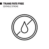 istock Trans Fat Free Line Icon, Outline Vector Symbol Illustration. Pixel Perfect, Editable Stroke. 1197703903