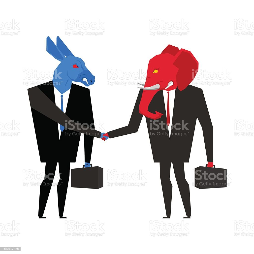 Transaction elephant and donkey. Democrats and Republicans shake vector art illustration