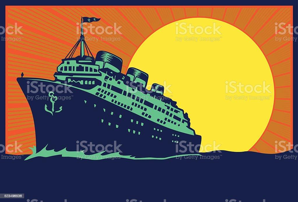 Transatlantic ocean liner cruise ship, vintage travel poster vector illustration vector art illustration