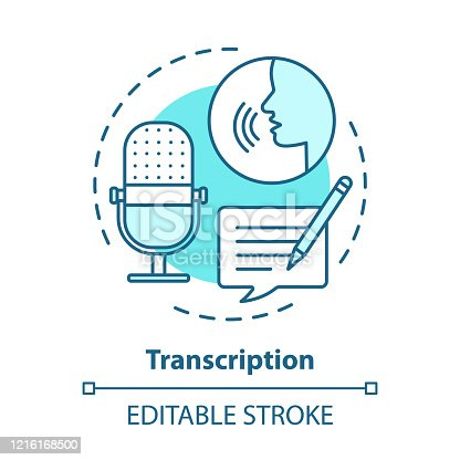 Transcription blue concept icon. Audio files conversion into text format idea thin line illustration. Representation of language in written form. Vector isolated outline drawing. Editable stroke