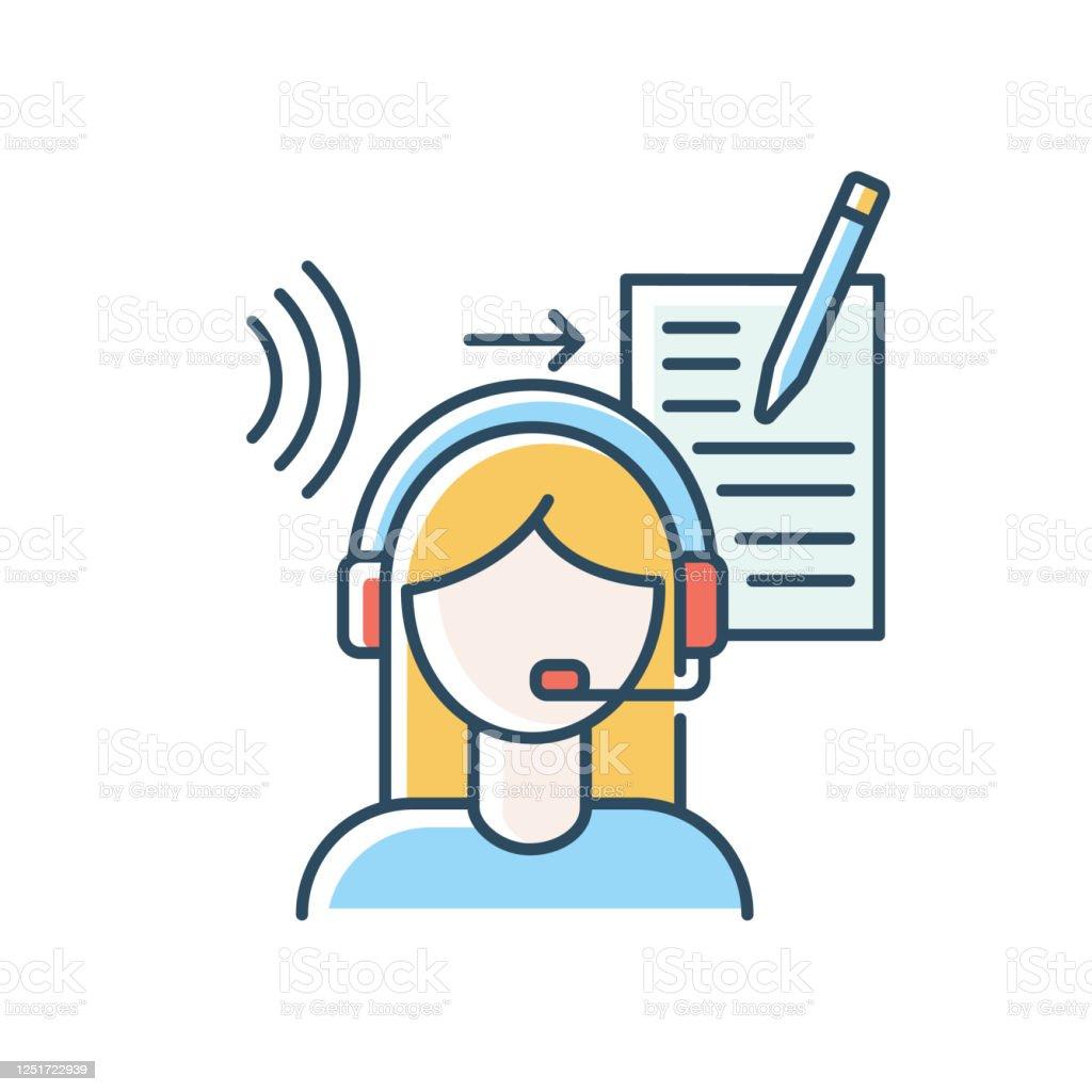 Ilustración de Icono De Color Rgb Azul De Transcripción Linguista Traductor  Escucha Y Traducción Representación En Idioma Extranjero Conversión De  Registros De Audio En Texto Ilustración Vectorial Aislada y más Vectores  Libres