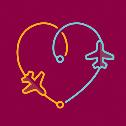 Transfer airplanes leaving a heart shape trace
