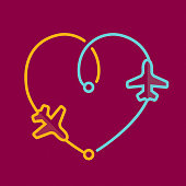 Directly above view to single line Yellow and Blue airplane icons leaving a heart shape trace on deep red background. Outline stroke 2px. Romantic transfer illustration concept.