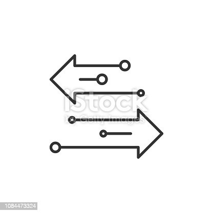 Transfer arrows outline icon for mobile concept and web design. Left right arrows simple line vector icon. Symbol, logo illustration. Pixel vector graphics