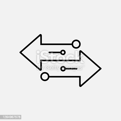 Transfer arrows outline icon isolated on white background. Vector illustration. Eps 10