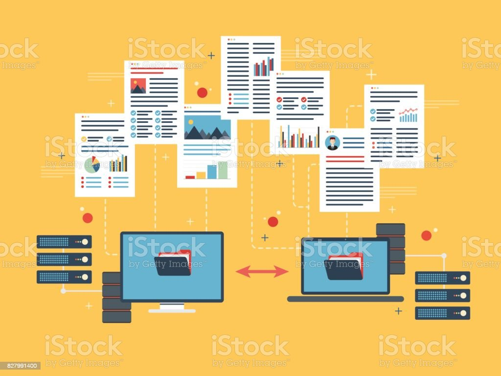 Transfer data between computer and laptop. Backup data and computer network. royalty-free transfer data between computer and laptop backup data and computer network stock illustration - download image now