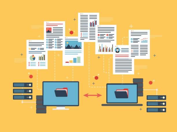 ilustraciones, imágenes clip art, dibujos animados e iconos de stock de transferencia de datos entre computadoras y laptop. backup datos y ordenador de la red. - trabajo de oficina