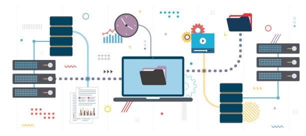 stockillustraties, clipart, cartoons en iconen met overdracht van gegevensnetwerk documenten en databack-up. - opslagruimte