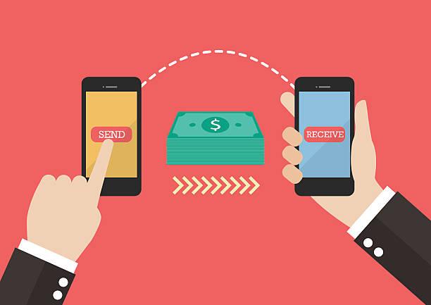 transfer money by smart phone - dollar bill stock illustrations